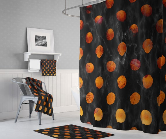 Black Marble Orange Polka Dot Shower Curtain With Optional