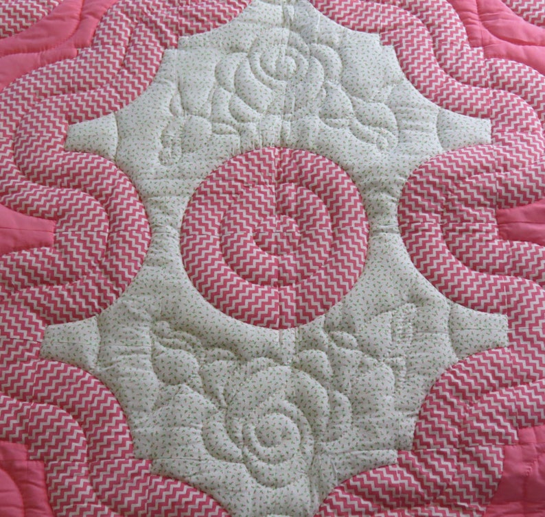 Majestic Fans with quilted flowers New Hand quilted Pink Crib Quilt