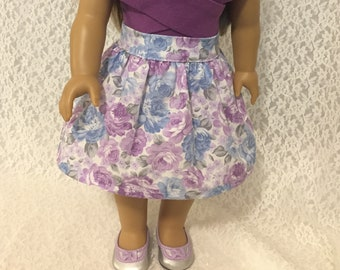 Lilac and Blue Floral Skirt for 18 Inch Dolls
