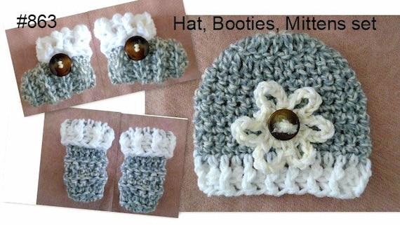 Crochet Baby Set Hat Booties Mitts Crochet Pattern Etsy