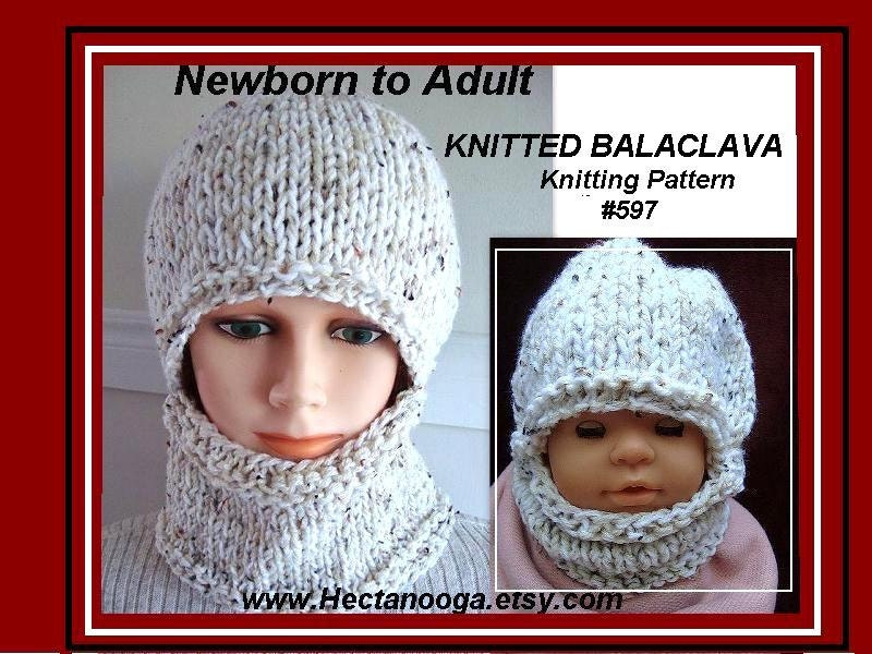 Knitting Pattern Hat Easy Balaclava Or Hat And Cowl Flat Etsy