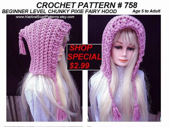 06c931695ef CROCHET PATTERN Hat Pink Pixie Hood with tassels Easy