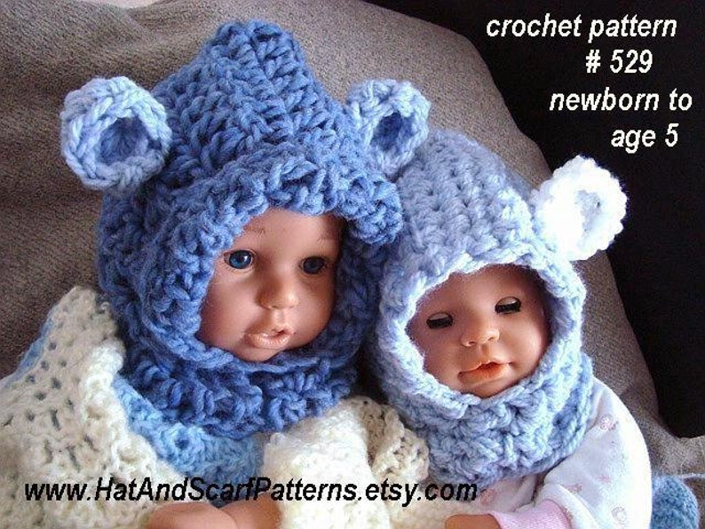 b9acd96e214 Hat pattern CROCHET PATTERN Baby Bear Hood Hat Patterns for