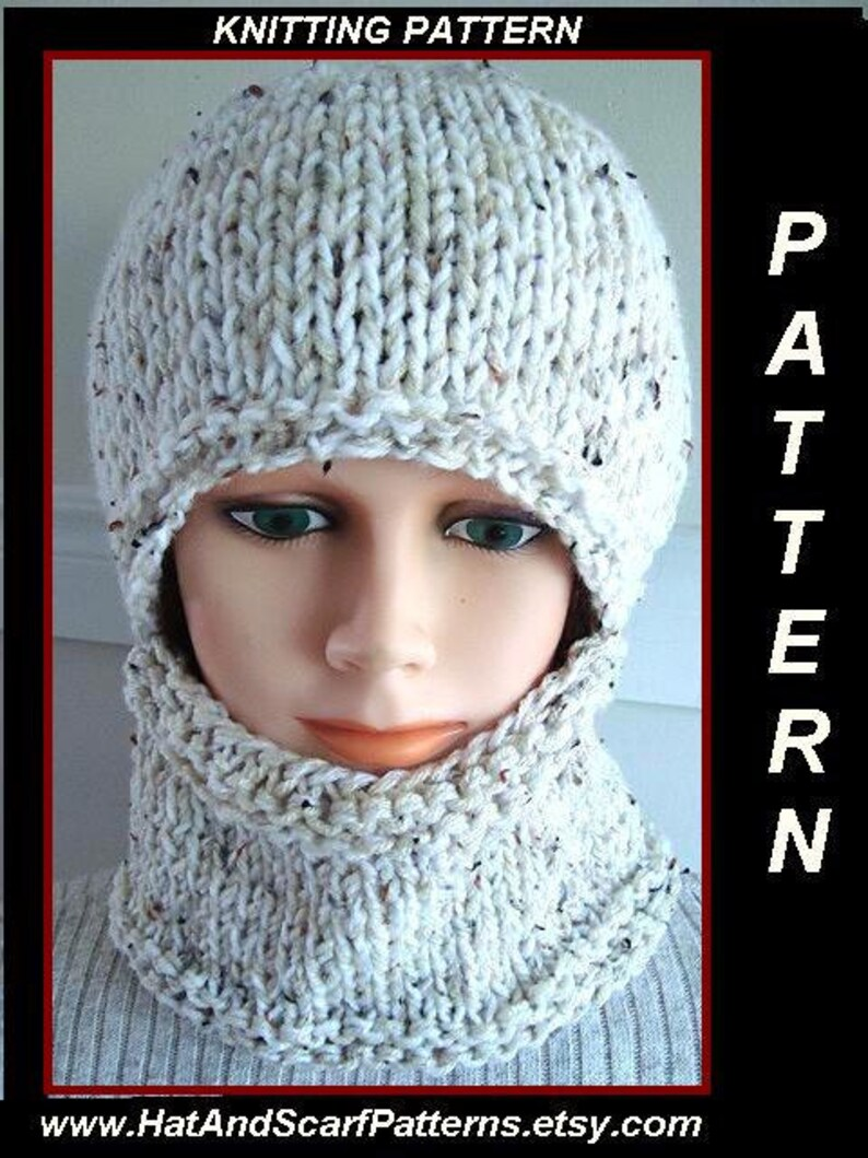 KNITTING PATTERN hat Easy Balaclava or hat and cowl Flat  b3cde759e