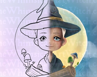 Witch Boy Male Magick Moon UNCOLORED Digital Stamp Image Adult Coloring Page jpeg png jpg Craft Cardmaking Papercrafting DIY