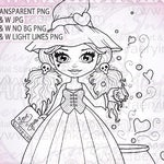 Love Spells Witch Kitty Girl UNCOLORED Digital Stamp Image Adult Coloring Page jpeg png jpg Craft Cardmaking Papercrafting DIY
