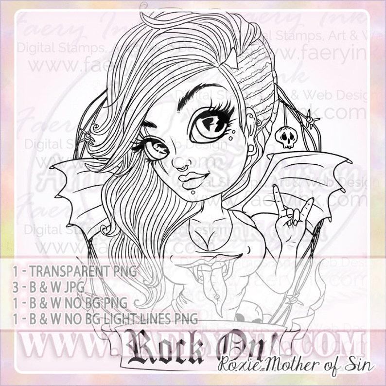Rock & Roll Metal Punk Girl Demon Wings UNCOLORED Digital Stamp Image Adult  Coloring Page jpeg png jpg Craft Cardmaking Papercrafting DIY