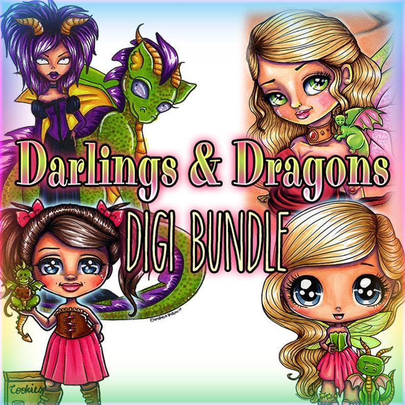 Darlings & Dragons Fae Chibis 4 Digis BUNDLE UNCOLORED Digital image 0