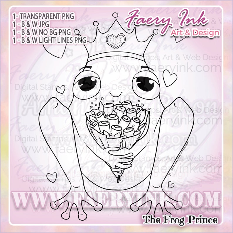 The Frog Prince UNCOLORED Digital Stamp Coloring Page Craft image 0