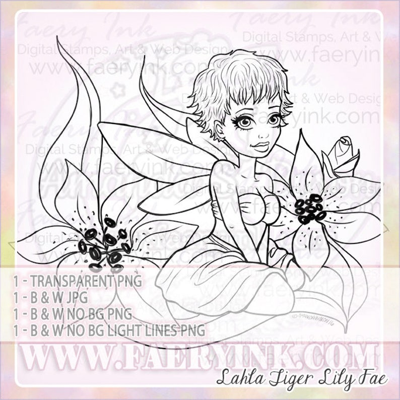 Tiger Lily Fairy Fae Faery Fantasy UNCOLORED Digital Stamp image 1