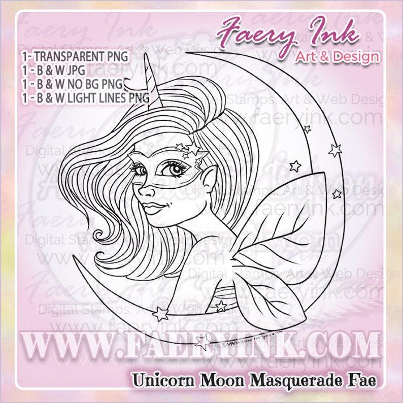 Unicorn Masquerade Moon Fairy Faery Fae UNCOLORED Digital image 0