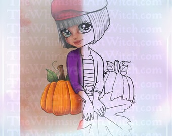 Raspberry Beret Cute Autumn Girl UNCOLORED Digital Stamp Image Adult Coloring Page jpeg png jpg Craft Cardmaking Papercrafting DIY