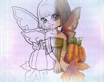 Autumn Fae Cute Girl UNCOLORED Digital Stamp Image Adult Coloring Page jpeg png jpg Craft Cardmaking Papercrafting DIY