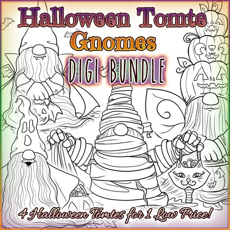 Halloween Tomte Gnomes 4 Digis BUNDLE UNCOLORED Digital Stamp image 0