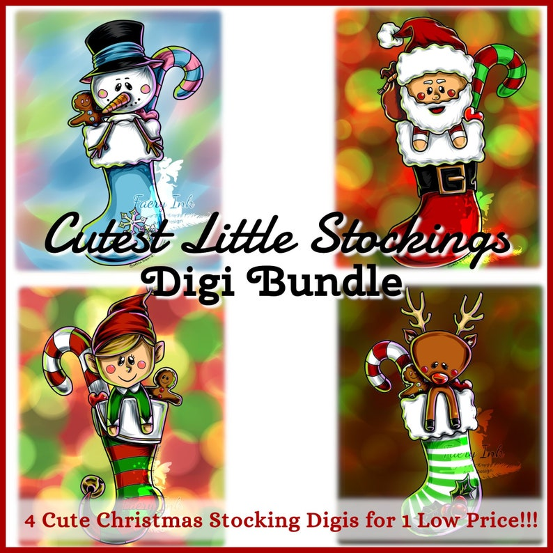 Cutest Christmas Stockings Digi Bundle UNCOLORED Digital Stamp image 0