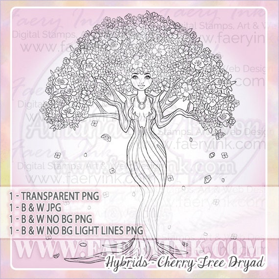 Cherry Blossom Dryad Tree Woman UNCOLORED Digital Stamp Image Adult  Coloring Page jpeg png jpg Fantasy Craft Cardmaking Papercrafting DIY