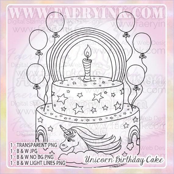 Unicorn Birthday Cake Uncolored Digital Stamp Image Adult Etsy