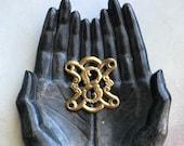 antique jewelry finding, 1 brass bracelet necklace focal medallion link panel, brass monogram S , number 8, supply destash, Anvils Attic
