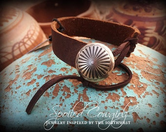Handmade, Rustic, Concho and Genuine Buffalo Bison Leather Wrap Bracelet.