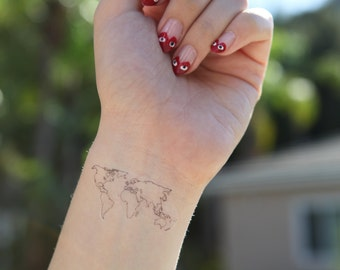 World map tattoo | Etsy