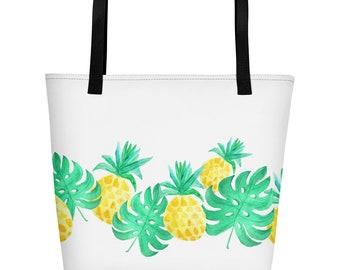 1b680dfae33 Tropical Leaves Beach Bag palm print tote bag palm leaves | Etsy