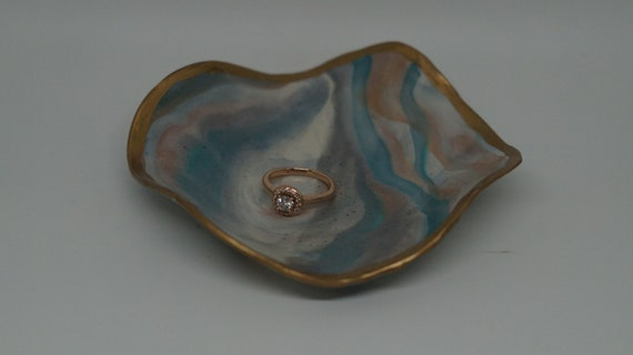 Faux Marble Clay Ring or Trinket Bowl