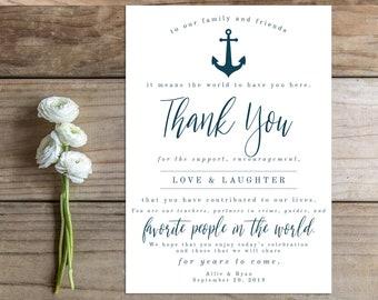 Printable Wedding Thank You Card Sign - the Ainsley Collection - Nautical - Anchor