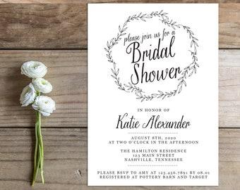 Printable Bridal Shower Invitation - the Allie Collection - Laurel