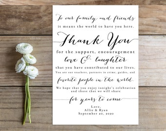 Printable Wedding Thank You Card Sign - the Sue Collection
