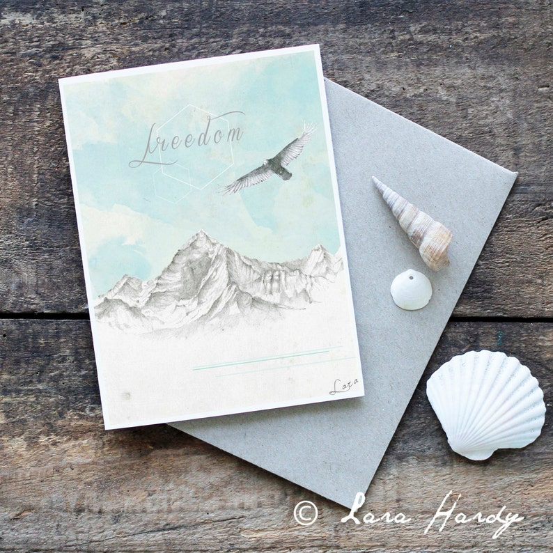 Mountain Greeting Card Eagle Art Blank Card Bohemian Hand image 0