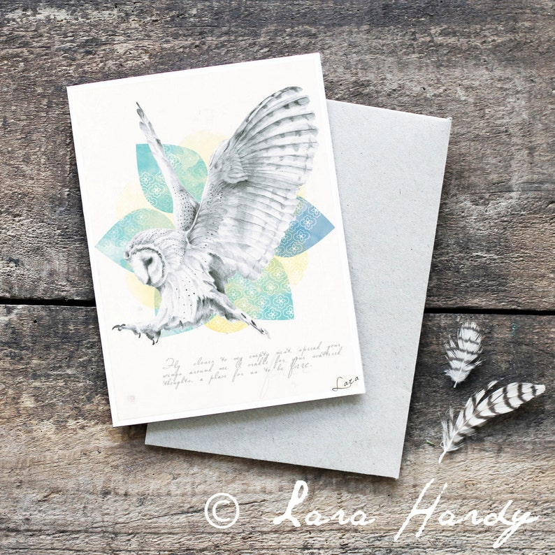 Barn Owl Greeting Card Blank Card Hand Drawn Owl Original image 0