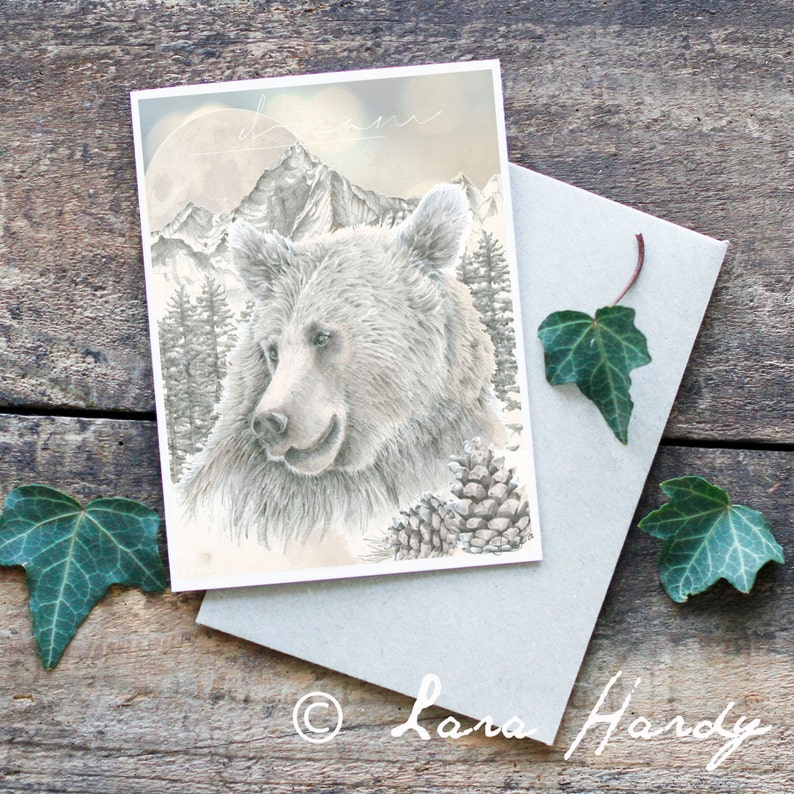Bear Greeting Card Blank Card Original Artwork Bear image 0