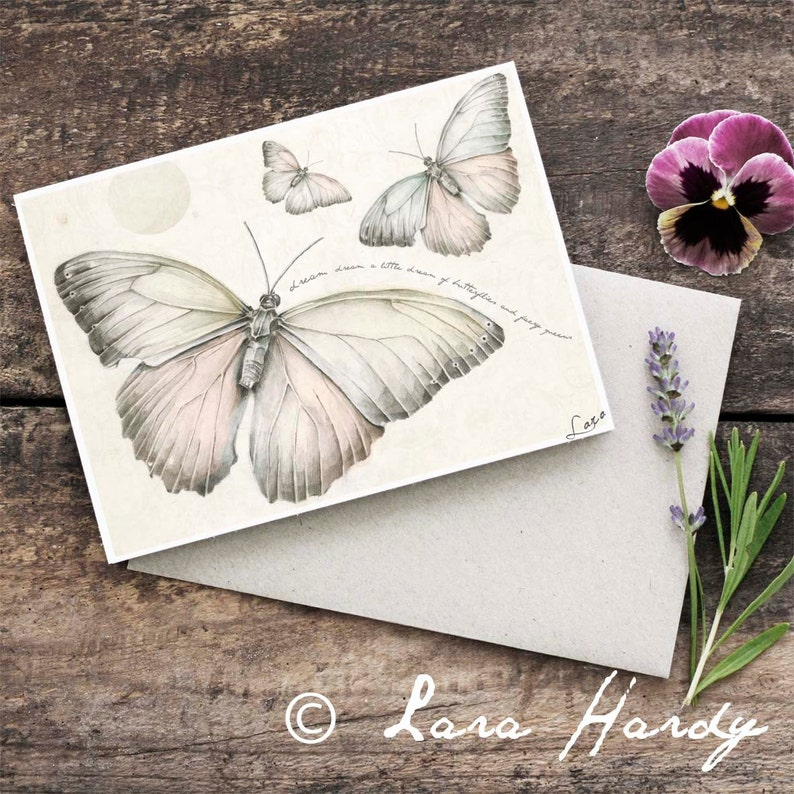 Butterfly Greeting Card Hand Drawn Illustrated Baby Shower image 0