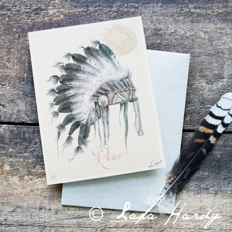 Native American Indian Headdress Blank Greeting Card image 0