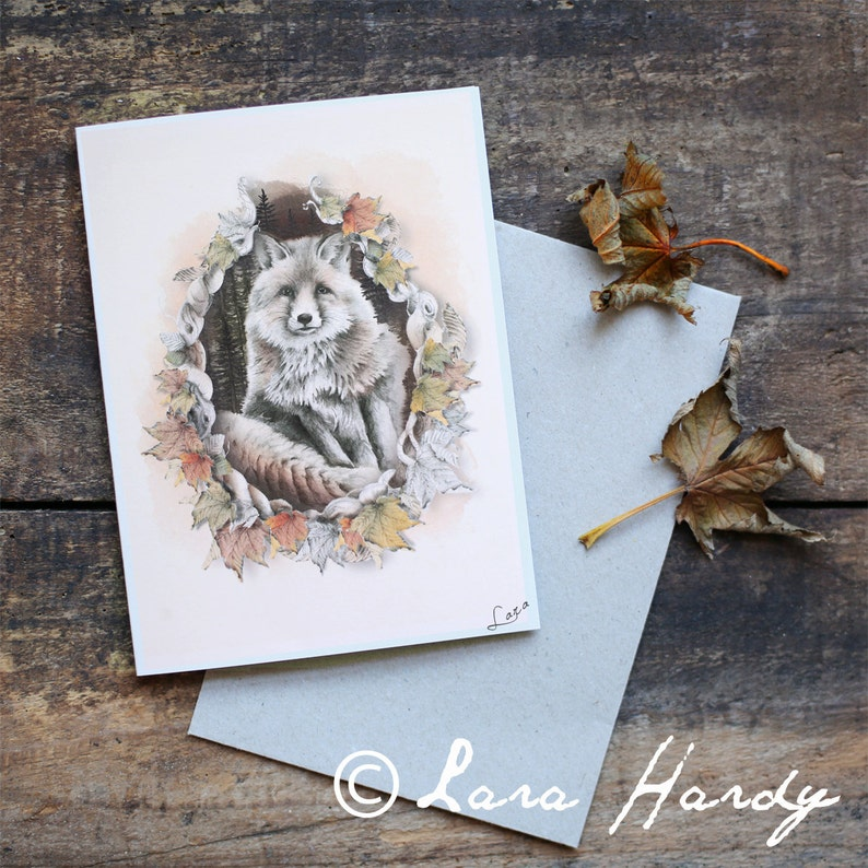 Red Fox Greeting Card Blank Greeting Card Hand Drawn Fox image 0