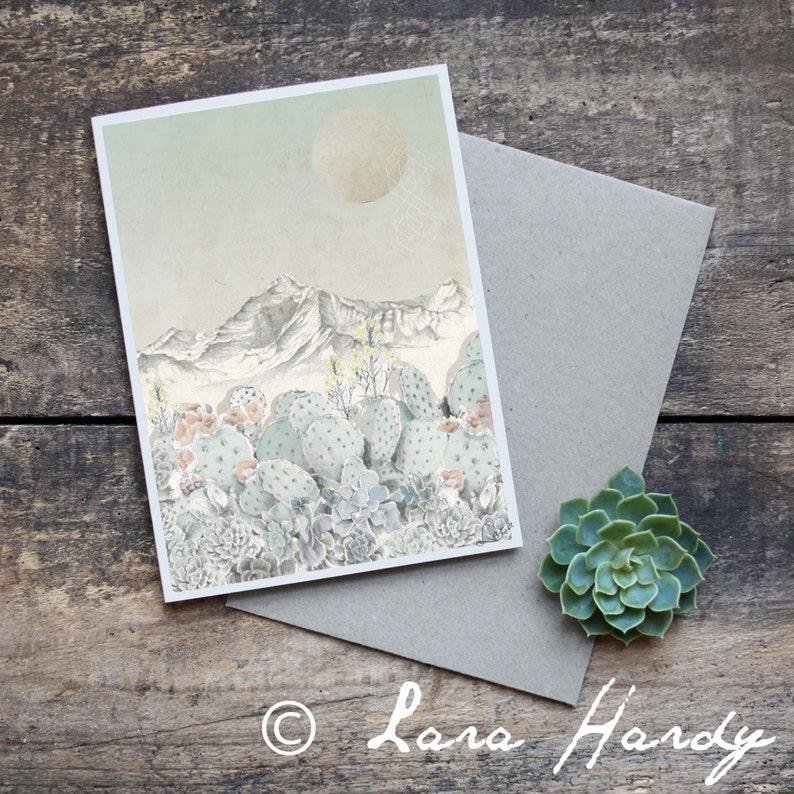 Succulent Greeting Card Blank Card Original Artwork Hand image 0
