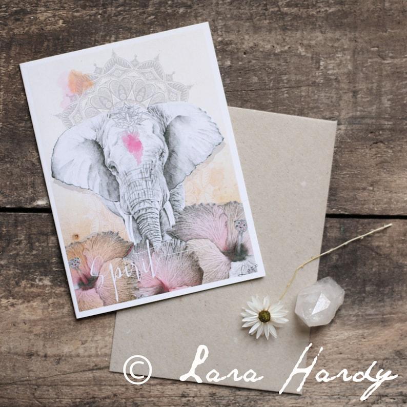 Bohemian Elephant and Mandala Greeting Card image 0