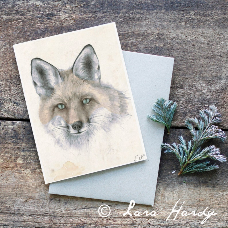 Fox Greeting Card Baby Shower Card Woodland Baby Shower Art image 0