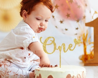 One Cake Topper Wood First Birthday Girl Cake Topper Birthday Boy 1st Birthday Smash Cake Topper Birthday Cake Topper Glitter Gold 28
