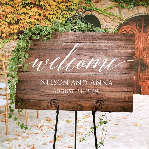 Rustic Wedding Welcome Sign Wood Rustic Wood Wedding Sign Etsy