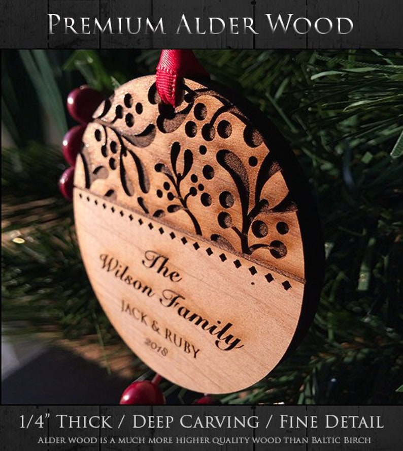 Personalized Christmas Ornaments Handmade Ivy Family Christmas Gift Wood Christmas Ornament Custom Text Sku 16b