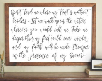 Spirit Lead Me  / Oceans / White with Charcoal Letters / Calligraphy Font / Wall Art Poster / 4 Sizes, 8x10, 11x14, 18x24, 24x36