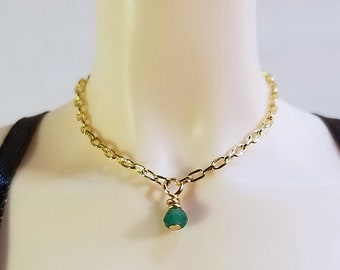 """BJD Necklace - 1/4 size - """"Jade"""" Glass and Yellow Gold Link Chain"""