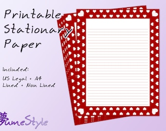 Printable Stationery Paper - Hearts 0002