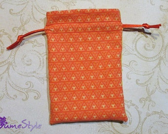 """Drawstring Bag """"Triforces"""" in red and gold"""