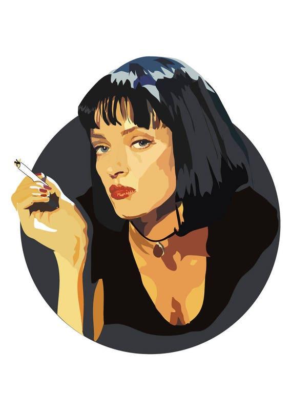 Mia Wallace Uma Thurman Pulp Fiction Art Print Cinema