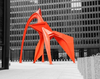 Chicago Flamingo sculpture, red black and white art photo print, city photography, large picture or canvas wall decor 8x10 12x16 20x30 30x45
