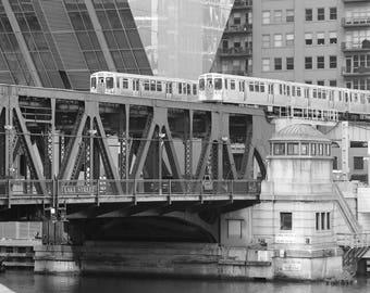 Chicago EL train photo print, black and white bridge picture, CTA elevated L tracks, paper or canvas art wall decor 8x10 12x12 16x20 24x36