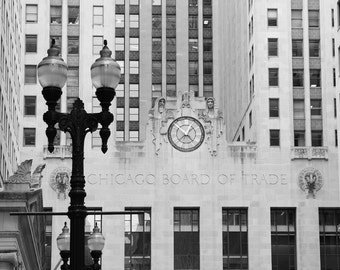 Chicago city photo print, black and white art photography, large Board of Trade picture, paper canvas wall decor 8x10 11x14 16x20 24x36
