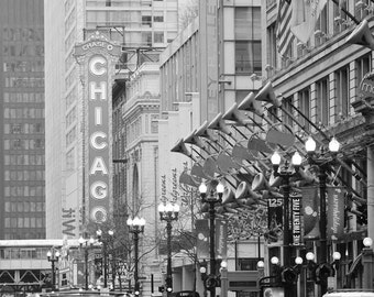 Chicago Theater photo print, black and white city photography, large picture, wall art decor, paper or canvas 8x10 11x14 16x20 24x36 30x45